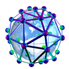 3D rendering of the earth globe inside a nano-structure