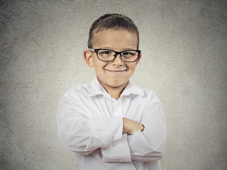 Happy confident little boy, little man with glasses