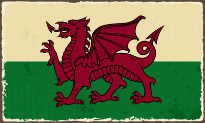 Welsh grunge flag. Vector illustration