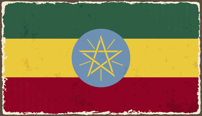 Ethiopia grunge flag. Vector illustration