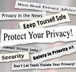Protect Your Privacy Newspaper Headlines Important Iinformation