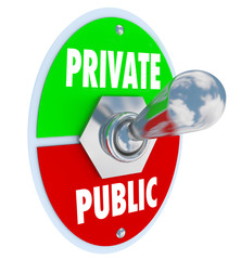 Private Vs Public Words Toggle Switch Privacy or Shared Informat