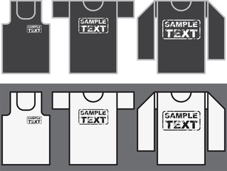 Singlet, T-shirt and Long-sleeved shirt template.