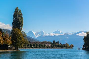 Alps and Thun lake near Spiez town in Switzerland