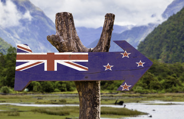 New Zealand wooden sign with a forest background