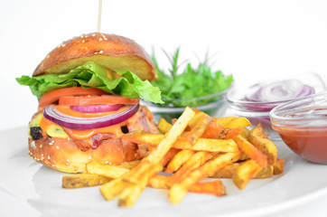 fast food ham fries and ketchup