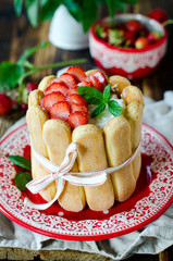 """Cake """"Charlotte"""" with strawberries"""