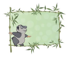 panda with blank sign cartoon