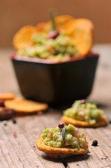 Closeup of a bowl of fresh guacamole.