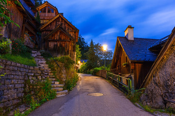 Streets of Hallstatt village in Alps at night, Austria