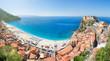 Panoramic view over Scilla with Castello Ruffo, Calabria, Italy