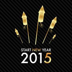 Silvester 2015 - Golden Rocket Fireworks - Start new year