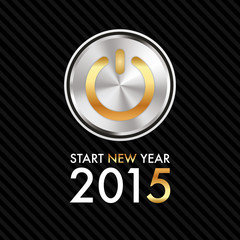 Silvester 2015 - Silver Gold Power Button - Start new year