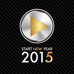 Silvester 2015 - Silver Gold Play Button - Start new year