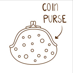 Sketchy illustration of cute dotted coin purse