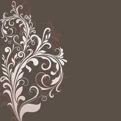 Floral vintage brown vector background