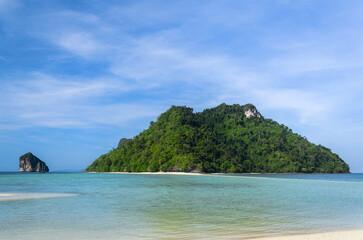 island with clear blue sky