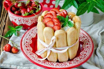 "Cake ""Charlotte"" with strawberries"