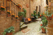 italian patio with flowers , Spello, Umbria