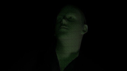 Male face with binary text projected in green front version