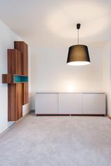 Cabinet, bookshelf and lights in empty room