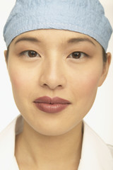 Close up of young female doctor's face