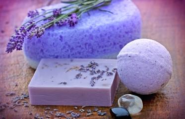 Lavender soap and sponge - spa concept