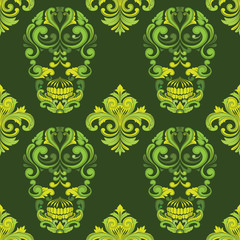 classic skul ornamental pattern