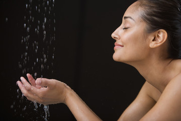 Close up profile of woman bathing