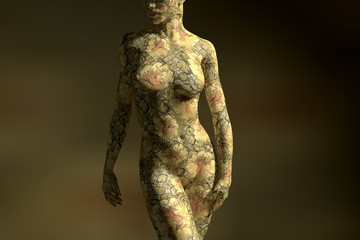 Yellowish bodypainting