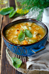 Soup with millet and vegetables