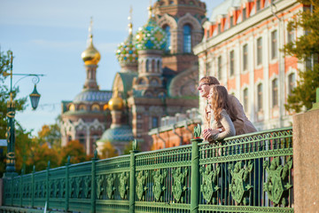 Happy couple in St.Petersburg, Russia
