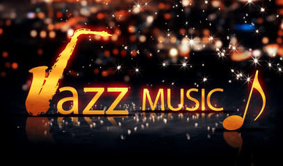 Jazz Music Saxophone Gold City Bokeh Star Shine Yellow 3D