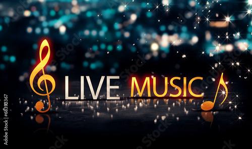 Muzyka na żywo Gold Silver City Bokeh Star Shine Niebieskie tło 3D