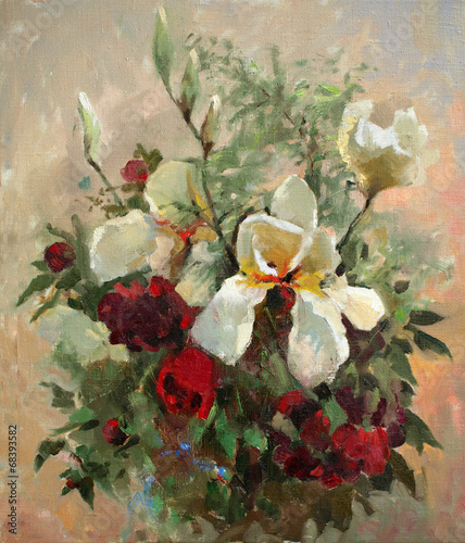 Plakat Oil painting of the beautiful flowers.