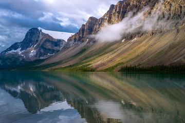 stormy reflections, bow lake