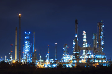 lighing landscape of oil refinery petrochemical in heavy industr