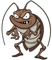 Vector illustration of cartoon cockroach