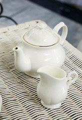 Teapot with little milk jar