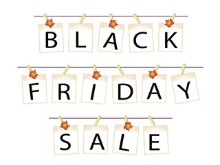 Black Friday Banner of Blank Photos with Maple Leaves
