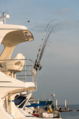 Spinning rods are a fixture on the boat