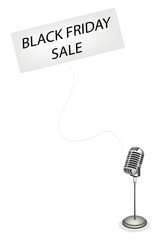 A Retro Microphone Broadcasting Black Friday Sale