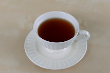 Hot tea on table at coffee cafe
