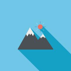 Mountain tourist flat icon with long shadow