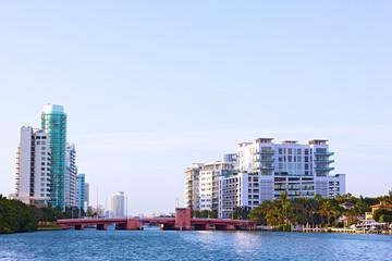 A spring morning in Miami Beach suburb.