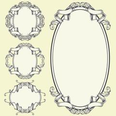 Ribbon frame and border ornaments set 05