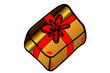 goldenes Geschenk mit roter Schlaufe...