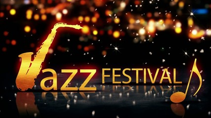 Jazz Festival Saxophone Gold City Bokeh Yellow 3D Loop Animation
