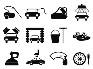 car washing icons set