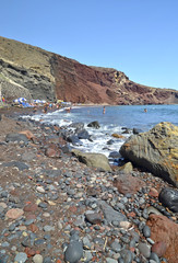 red beach in santorini island - greece